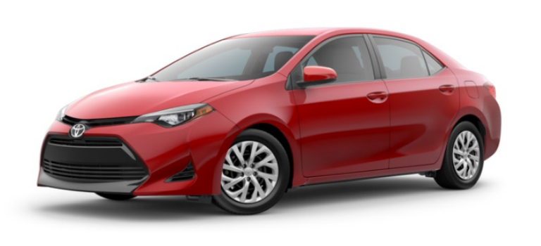 Barcelona Red Metallic 2019 Toyota Corolla Exterior on a White Background