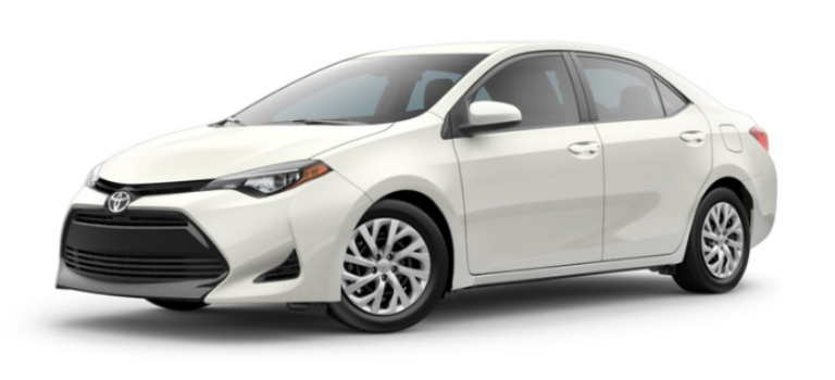 Blizzard Pearl 2019 Toyota Corolla Exterior on a White Background