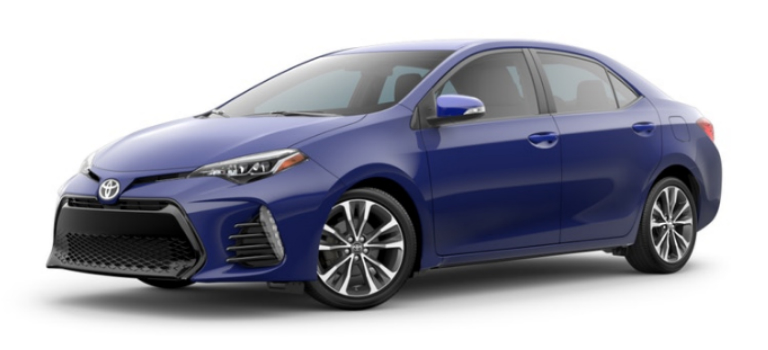 Blue Crush Metallic 2019 Toyota Corolla Exterior on a White Background