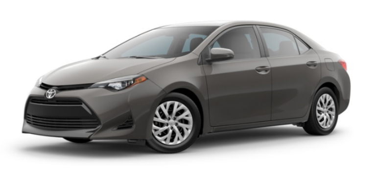 Falcon Gray Metallic 2019 Toyota Corolla Exterior on a White Background