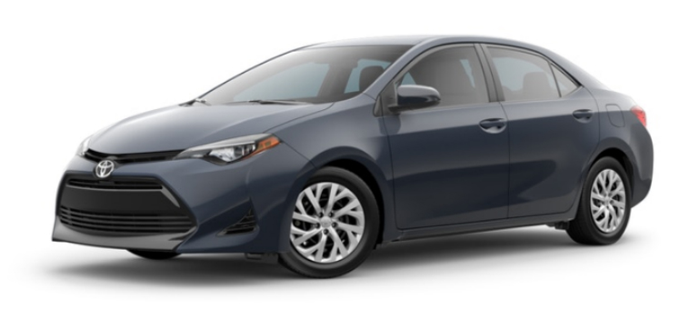 Slate Metallic 2019 Toyota Corolla Exterior on a White Background