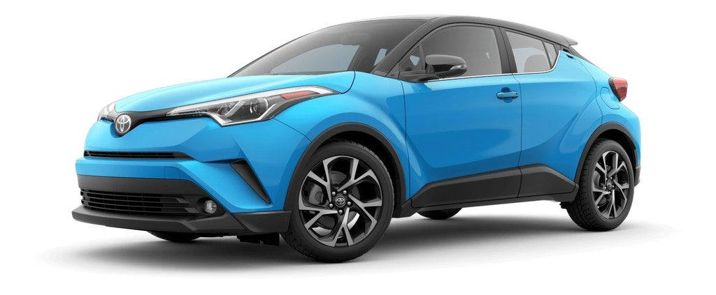 Blue Flame R-Code Black 2019 Toyota C-HR on White Background