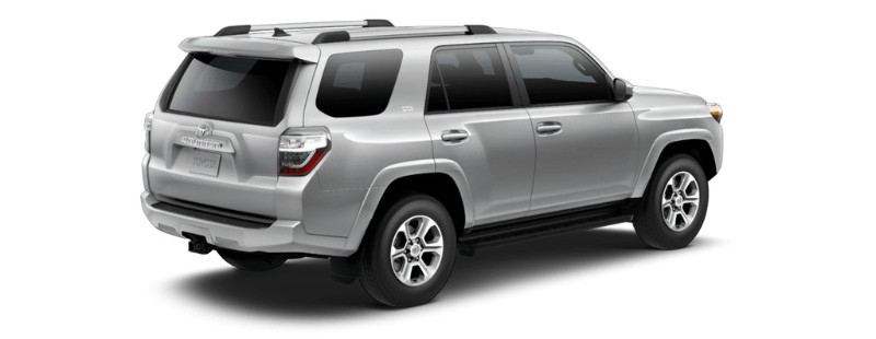 Classic Silver Metallic 2019 Toyota 4Runner Rear Exterior on White Background