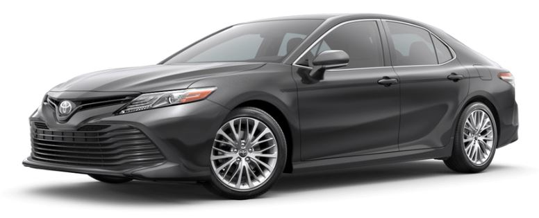 Predawn Gray Mica 2019 Toyota Camry on White Background