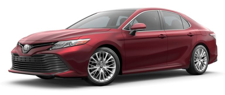 Ruby Flare Pearl 2019 Toyota Camry on White Background