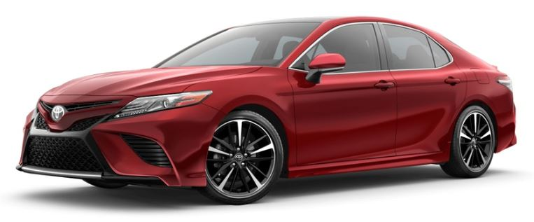 Supersonic Red 2019 Toyota Camry on White Background