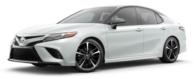 Wind Chill Pearl with Midnight Black Metallic 2019 Toyota Camry on White Background