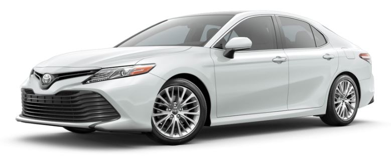 Wind Chill Pearl 2019 Toyota Camry on White Background