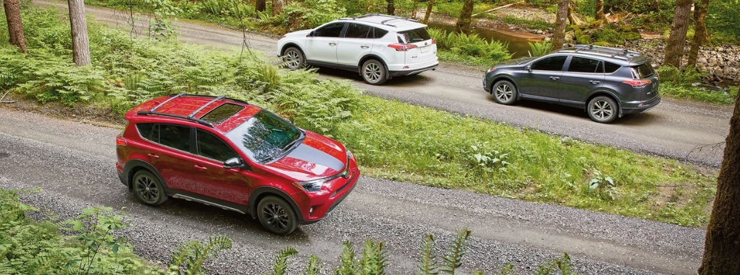 Red, White and Gray 2018 Toyota RAV4 Models on Gravel Trail in the Woods