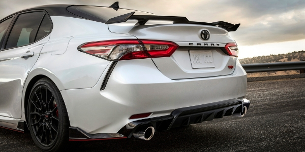 White and Black 2020 Toyota Camry TRD Rear Exterior and Spoiler