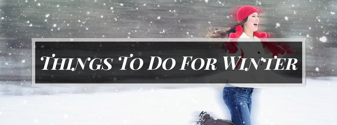 Woman Running in the Snow with Red Scarf and Hat and Black Rectangle with White Things To Do for Winter Text