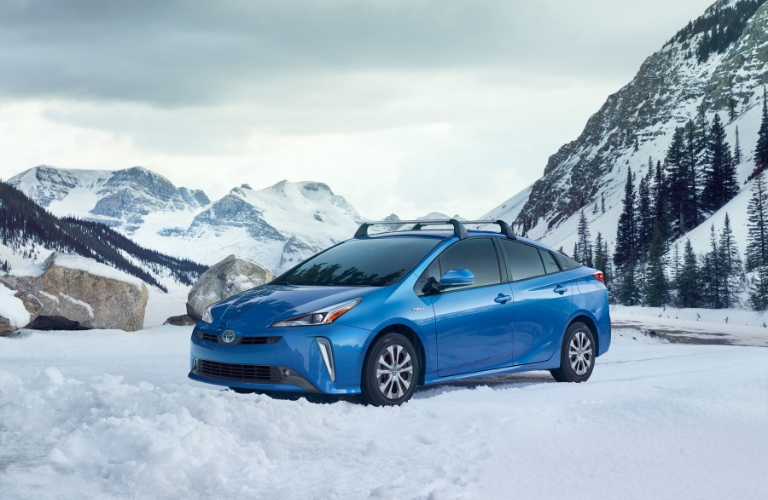 Blue 2019 Toyota Prius AWD-e in the Snow