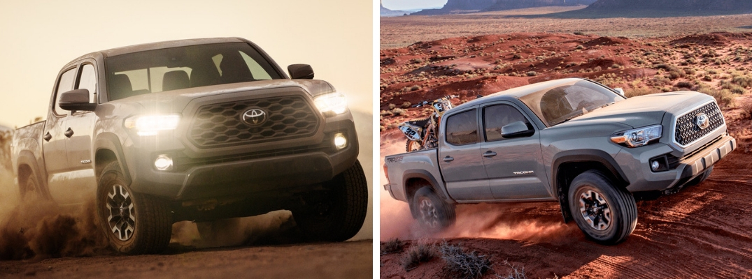 Gray 2020 Toyota Tacoma Kicking Up Dust on a Trail vs Silver 2019 Toyota Tacoma on a Desert Trail with Dirt Bike in the Bed