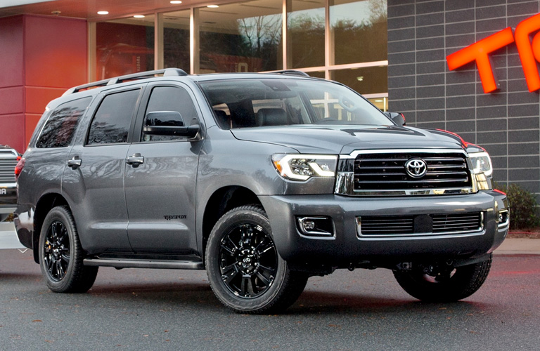Gray 2019 Toyota Sequoia TRD Sport in Front of a Garage