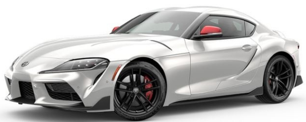 Absolute Zero White with Red Accents 2020 Toyota Supra Launch Edition on White Background