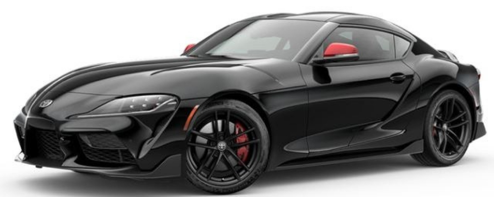 Nocturnal Black with Red 2020 Toyota Supra Launch Edition on White Background
