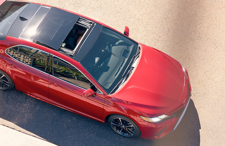 Overhead View of Red 2019 Toyota Camry with Sunroof Open