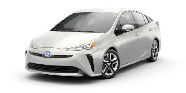 Blizzard Pearl 2019 Toyota Prius on White Background