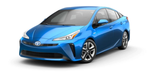 Electric Storm Blue 2019 Toyota Prius on White Background