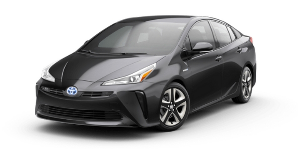 Magnetic Gray Metallic 2019 Toyota Prius on White Background