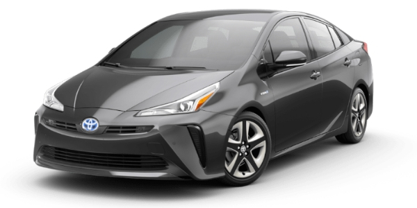 Midnight Black Metallic 2019 Toyota Prius on White Background
