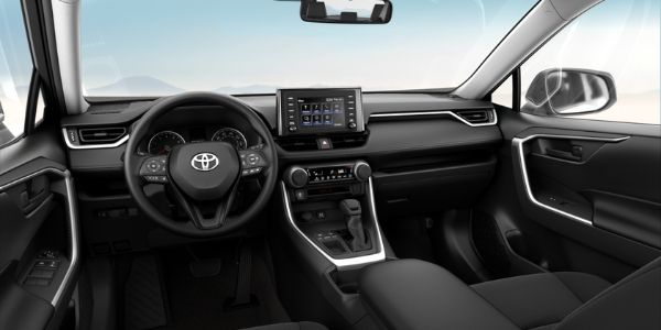 Black 2019 Toyota RAV4 LE Front Seat Interior and Dashboard