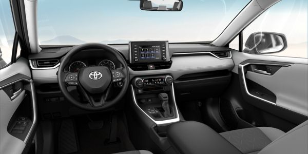 Gray 2019 Toyota RAV4 XLE Front Seat Interior and Dashboard