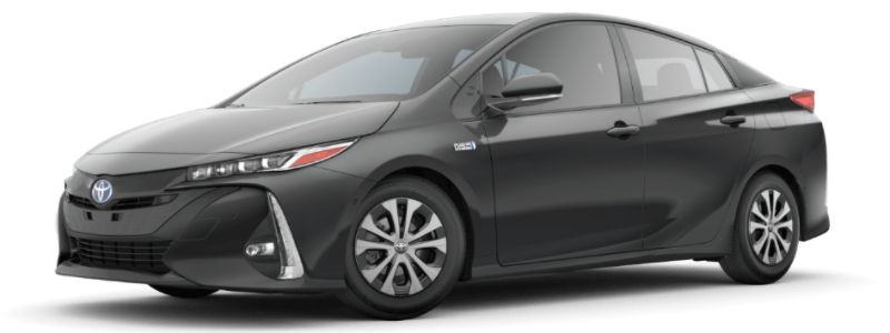 Magnetic Gray Metallic 2020 Toyota Prius Prime on White Background