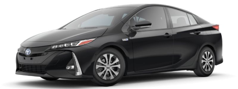 Midnight Black Metallic 2020 Toyota Prius Prime on White Background