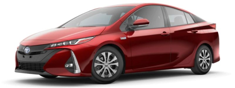 Supersonic Red 2020 Toyota Prius Prime on White Background