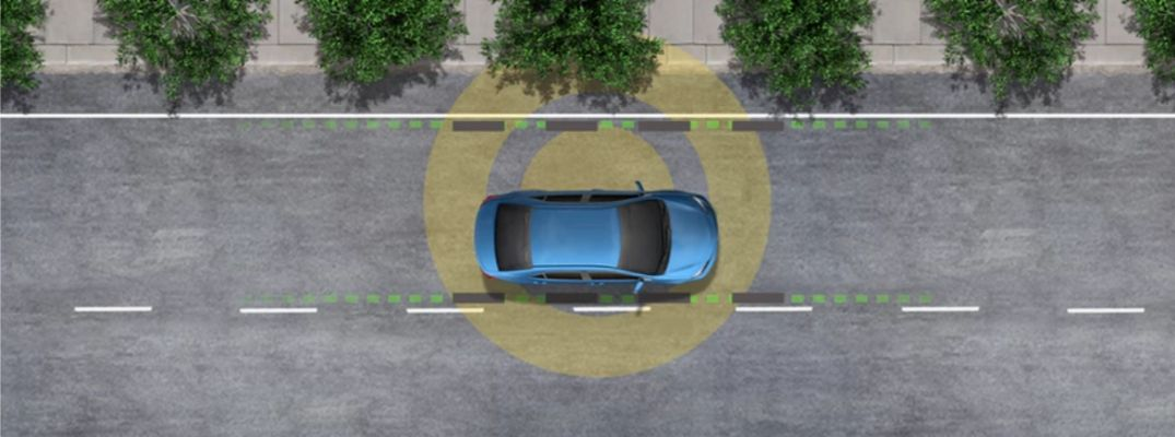 Diagram of Blue Car with Radar and Lane Departure Alert with Steering Assist on a City Street