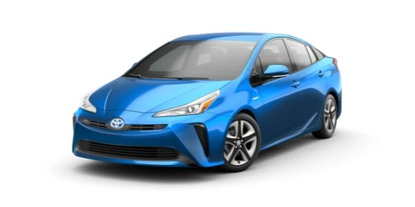 Electric Storm Blue 2020 Toyota Prius on White Background
