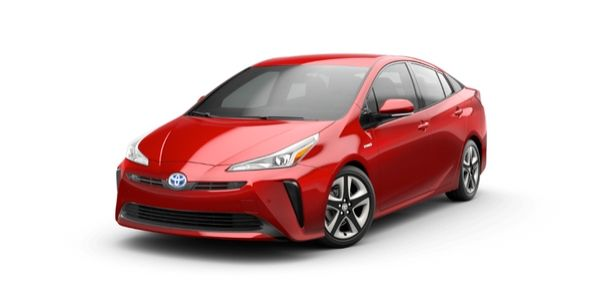 Supersonic Red 2020 Toyota Prius on White Background