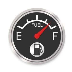 Black and White Fuel Gauge on White Background with Red Needle by Full