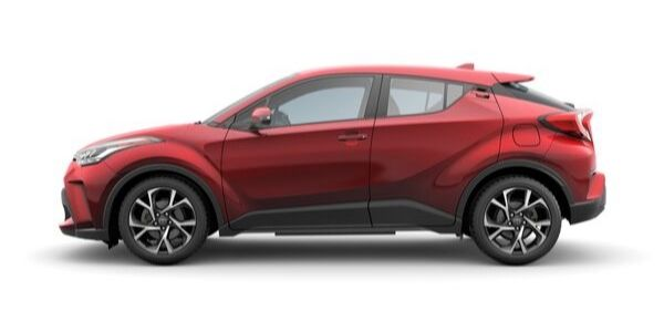 Red 2020 Toyota C-HR Side Exterior on White Background