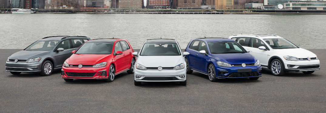 2018 VW Golf family lined up in a row in New York