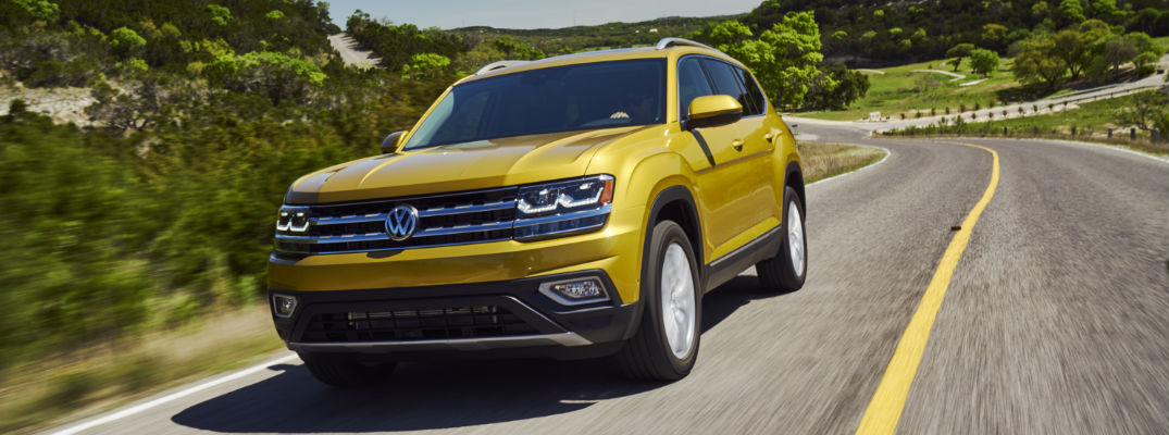 Front View of Yellow Exterior - 2018 VW Atlas SUV Engine Options and Specs