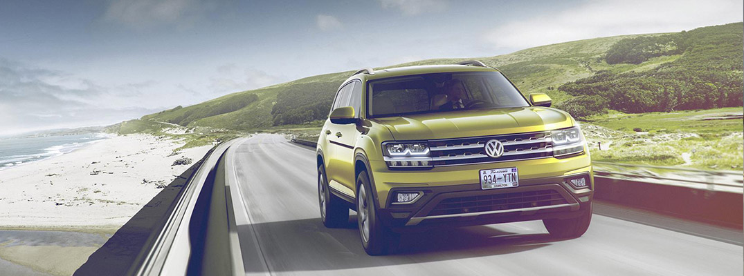 2018 VW Atlas Front View of Yellow Exterior with Sunny Landscape