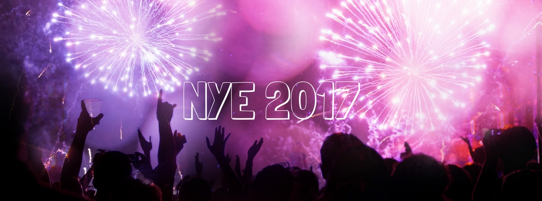 NYE 2017 banner with celebration in background