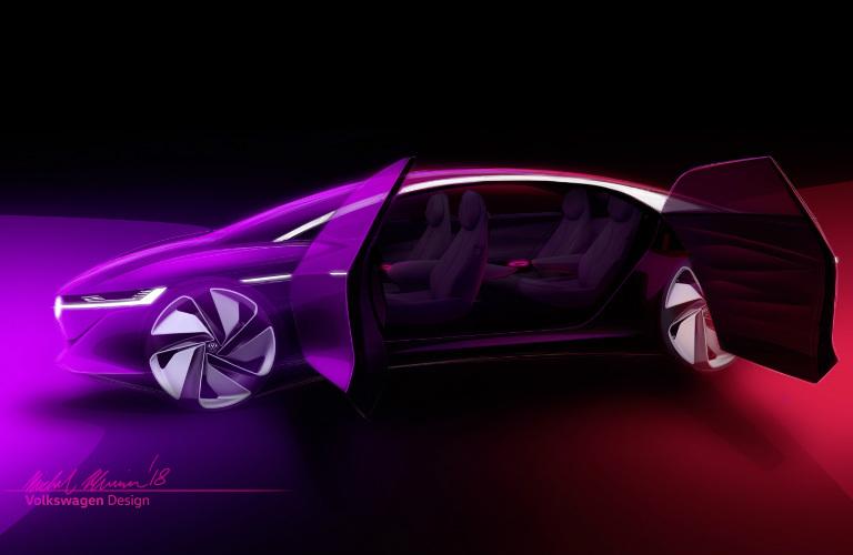 artist visual of VW I.D. VIZZION concept with doors open & VW-ID-VIZZION-doors-open_o - Findlay North Volkswagen