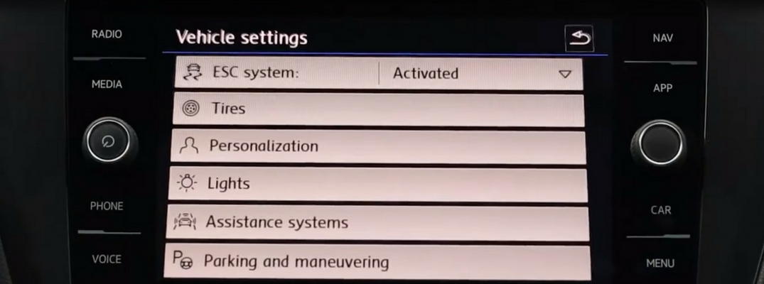 Vehicle Settings Menu in a 2018 Volkswagen Vehicle