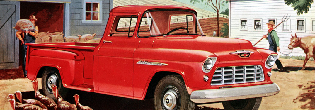 1955 Chevy truck red side view illustration
