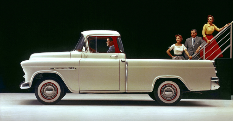 1955 Chevy truck white side view