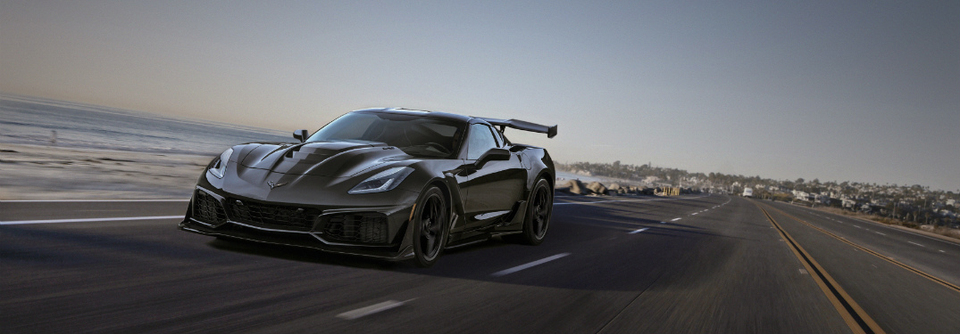 2019 Chevy Corvette ZR1 Gray front view on the road