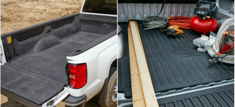 Chevy carpeted bed liner and rubberized bed mat side by side