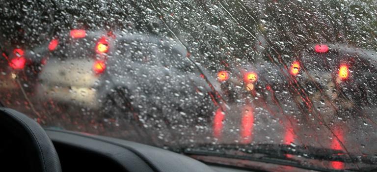 Water drops on car windshield