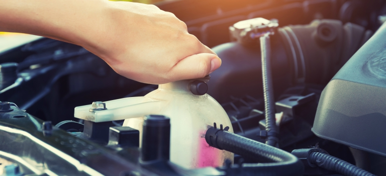 Windshield washer fluid reservoir on a car