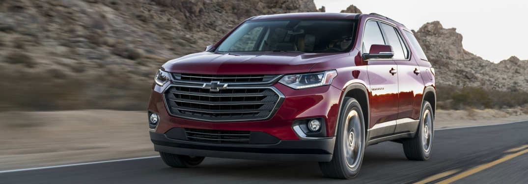 2018 Chevy Traverse RS red side front view