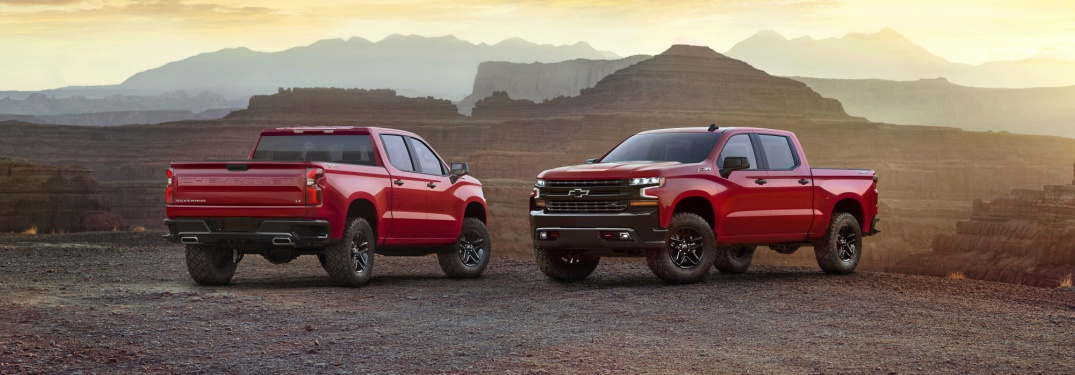 2019 Chevy Silverado 1500 red front and back view