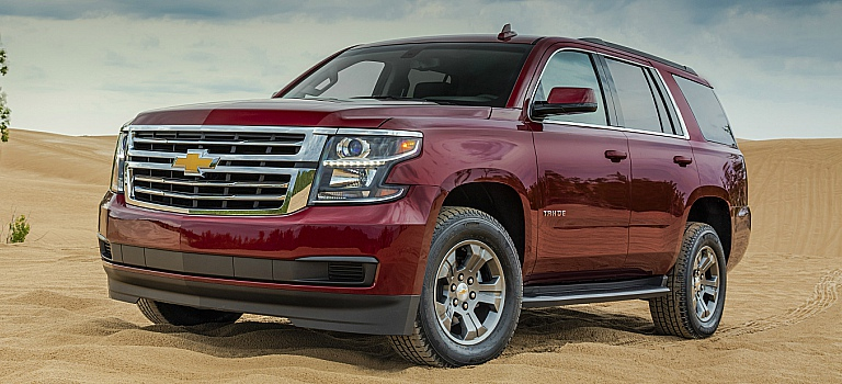 2018 Chevy Tahoe red front side view
